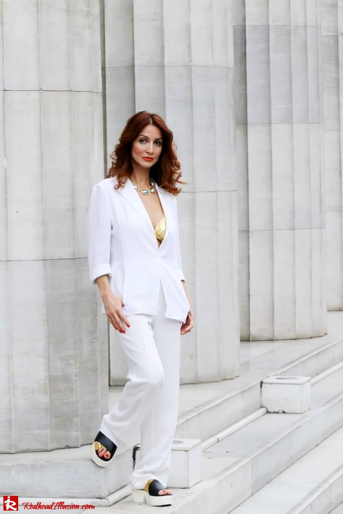 Redhead Illusion - Golden touch - White jacket- Androgynous style--03