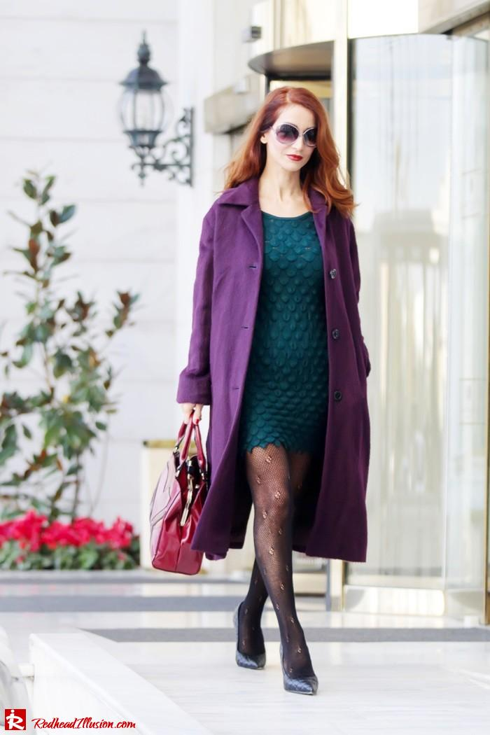 Redhead Illusion - Green and Purple - Guy Laroche Dress with Boss Coat and Valentino Bag-02