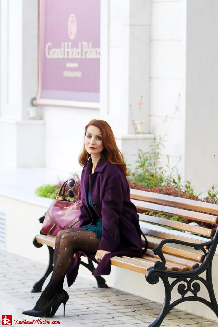 Redhead Illusion - Green and Purple - Guy Laroche Dress with Boss Coat and Valentino Bag-05