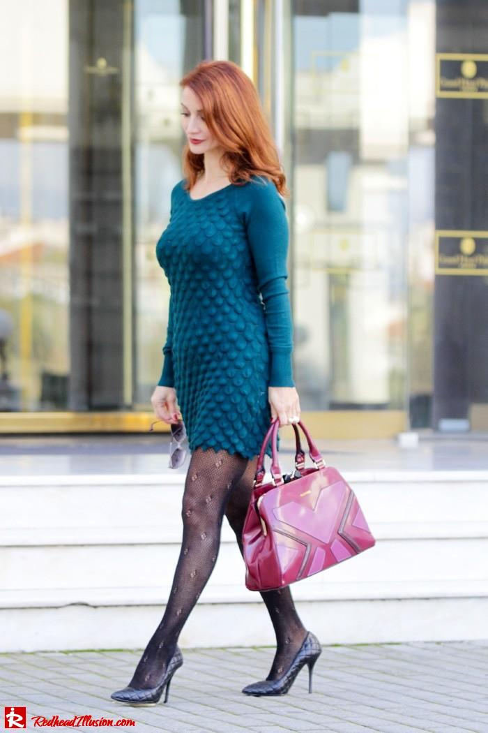 Redhead Illusion - Green and Purple - Guy Laroche Dress with Boss Coat and Valentino Bag-06