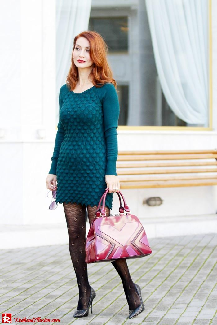 Redhead Illusion - Green and Purple - Guy Laroche Dress with Boss Coat and Valentino Bag-08