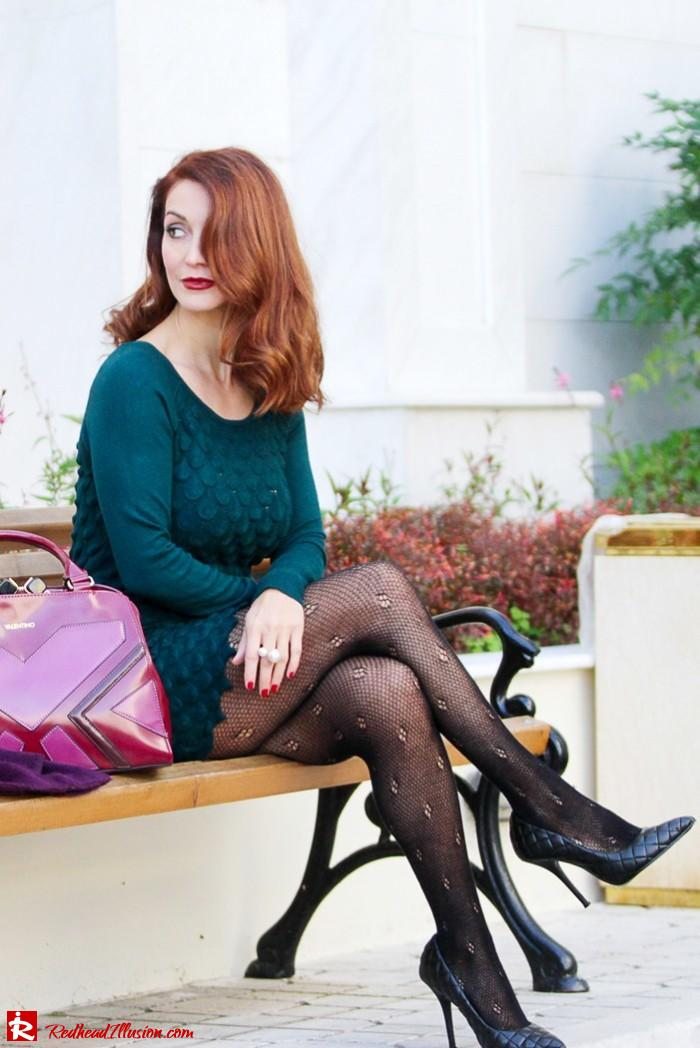 Redhead Illusion - Green and Purple - Guy Laroche Dress with Boss Coat and Valentino Bag-11