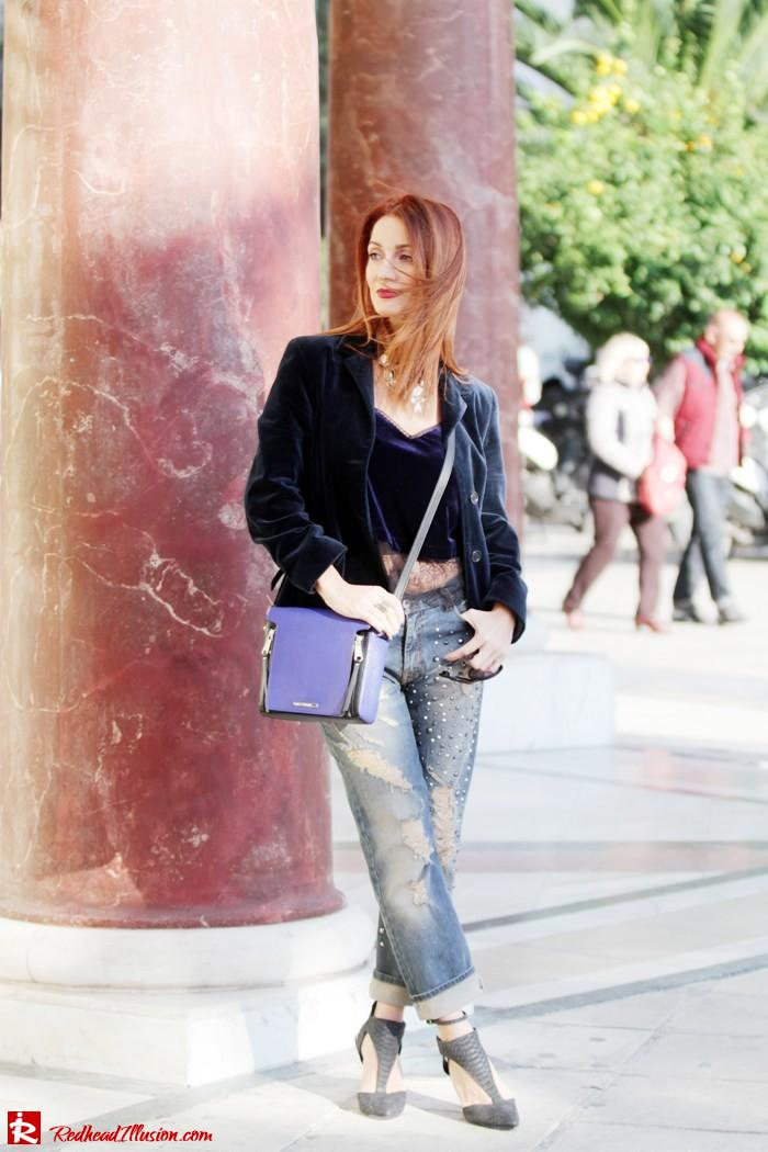 Redhead Illusion - Luxury velvet - Denny Rose Denim Distressed and River Island Velvet Jacket-05