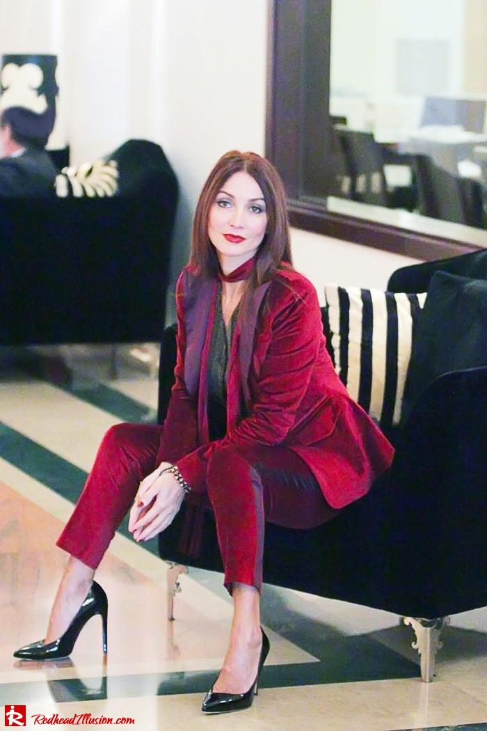 Redhead illusion - Red velvet - Altuzarra for target - Velvet Suit-11