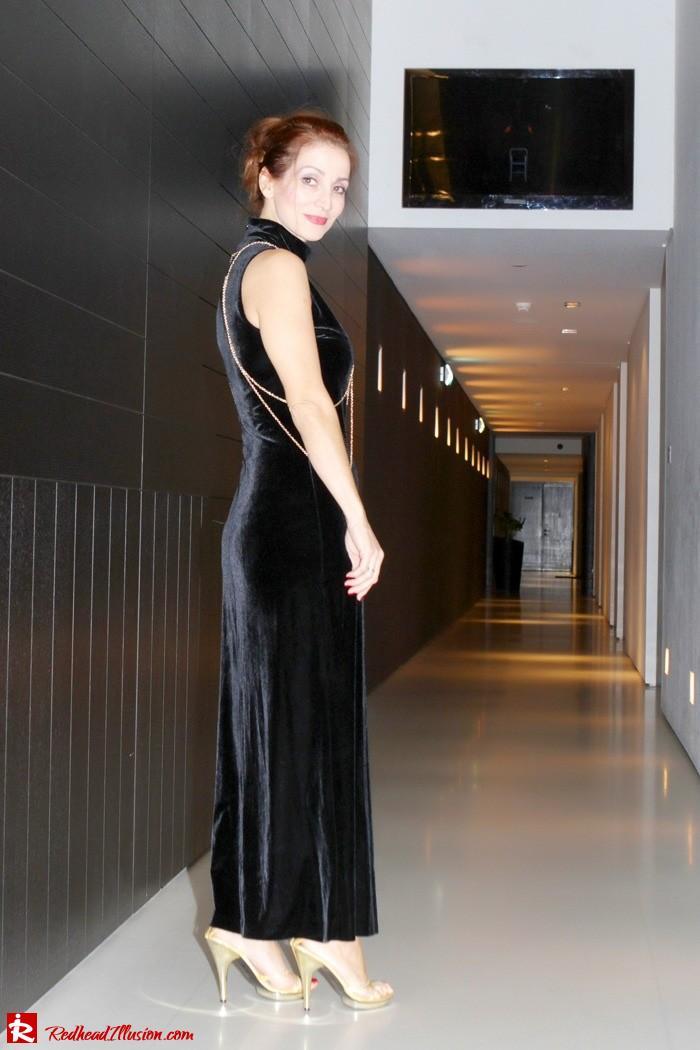 Redhead Illusion - Christmas-ize it - Black Velvet Dress with Body Harness-02