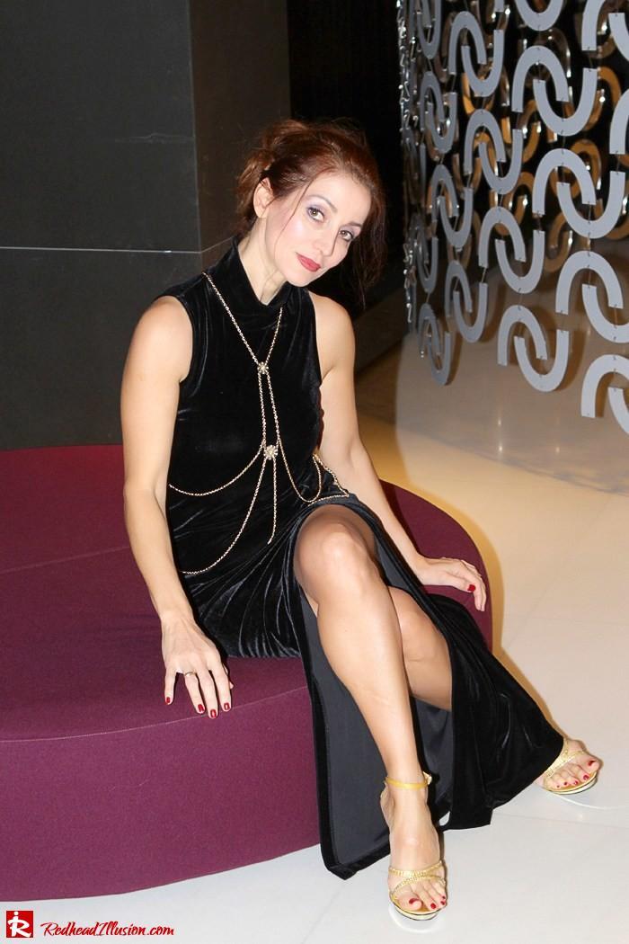 Redhead Illusion - Christmas-ize it - Black Velvet Dress with Body Harness-05