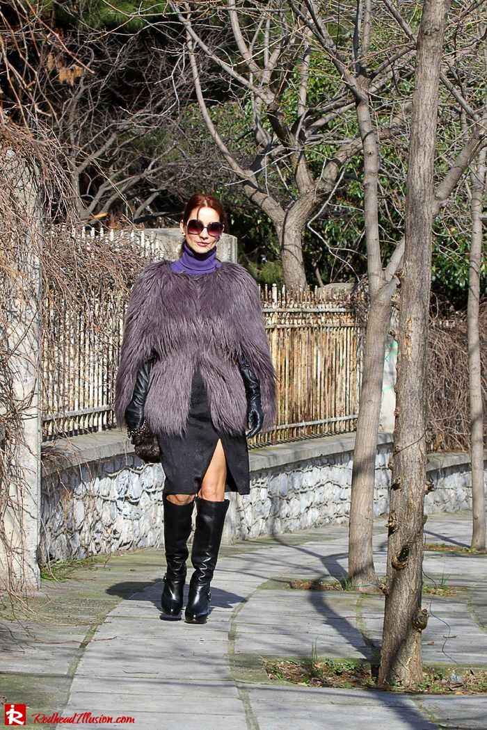 Redhead Illusion - Fashion Blog by Menia - Balance - Altuzarra Pencil Skirt with Supertrash Cape and Michael Kors Boots-08