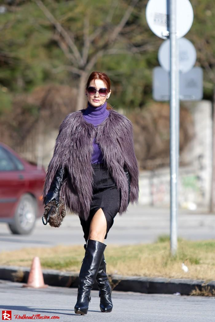 Redhead Illusion - Fashion Blog by Menia - Balance - Altuzarra Pencil Skirt with Supertrash Cape and Michael Kors Boots-11