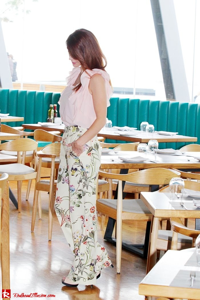 Redhead Illusion - Fashion Blog by Menia - Flower Power - Denny Rose Ruffle Top with Zara Pants-05