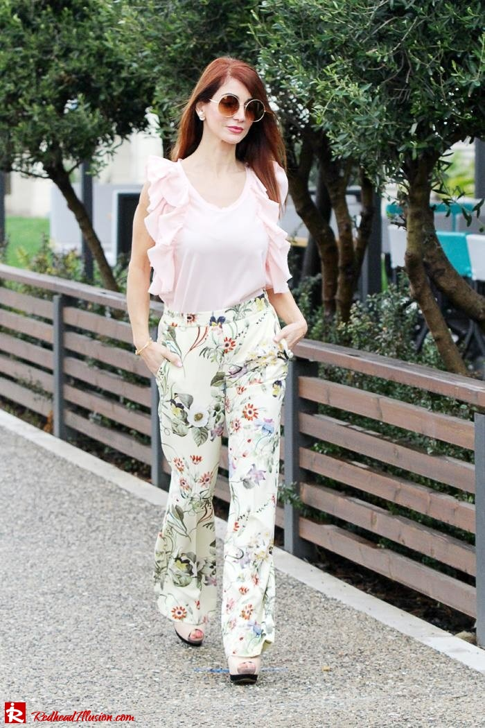 Redhead Illusion - Fashion Blog by Menia - Flower Power - Denny Rose Ruffle Top with Zara Pants-07