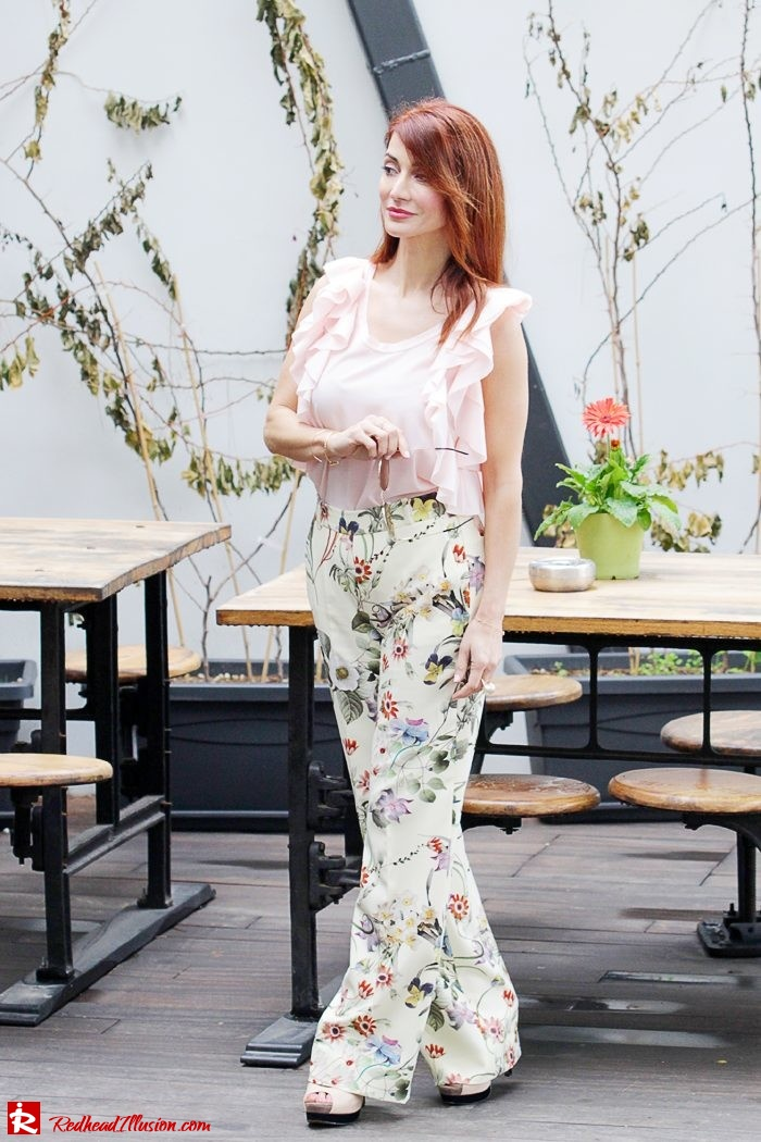 Redhead Illusion - Fashion Blog by Menia - Flower Power - Denny Rose Ruffle Top with Zara Pants-10