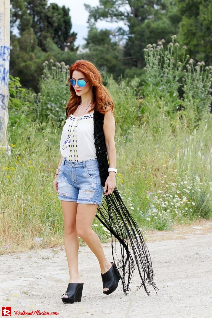 Redhead Illusion - Fashion Blog by Menia - Bohemian Summer - Knitted Vest - Distressed Denim Shorts-03
