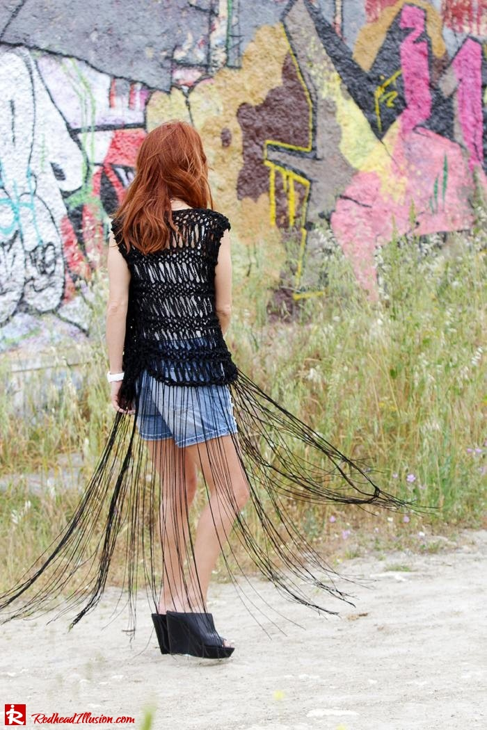 Redhead Illusion - Fashion Blog by Menia - Bohemian Summer - Knitted Vest - Distressed Denim Shorts-05