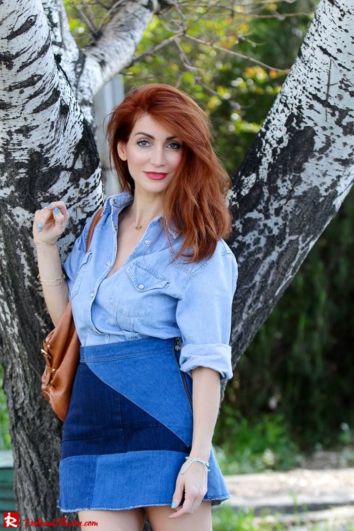 Redhead Illusion - Fashion Blog by Menia - Double Denim - Chambray Shirt with Jean Skirt-04