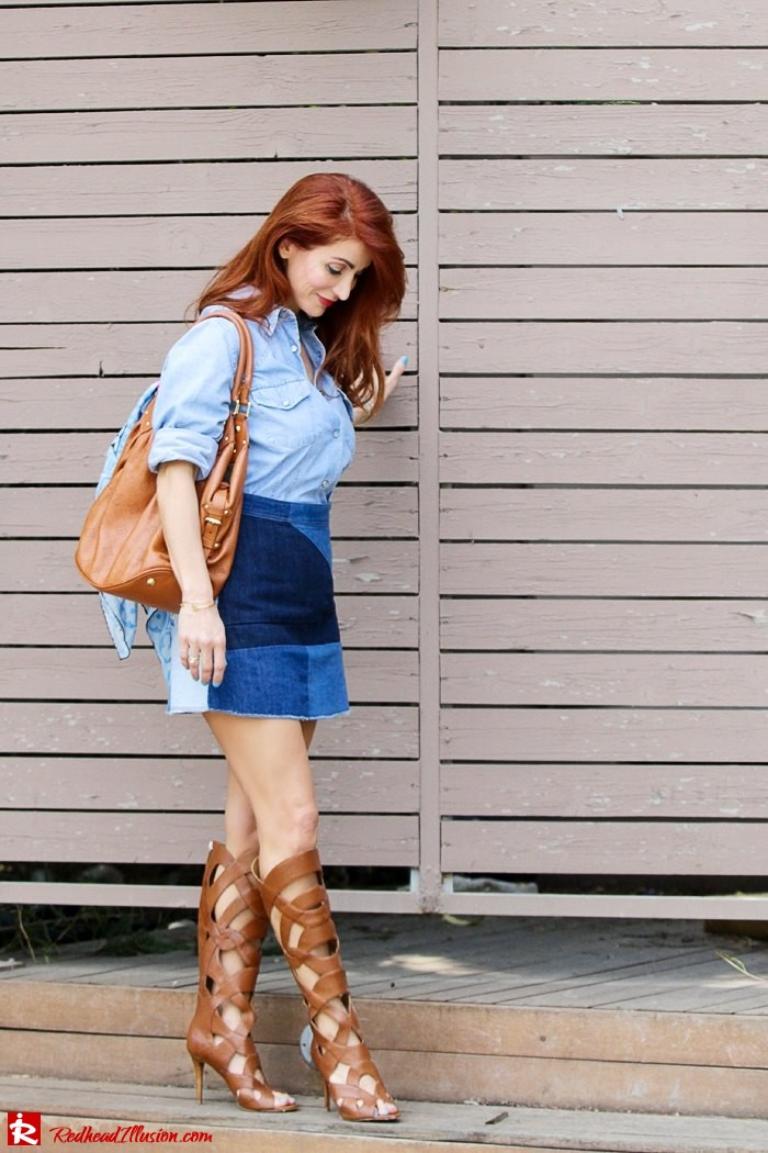 Redhead Illusion - Fashion Blog by Menia - Double Denim - Chambray Shirt with Jean Skirt-08