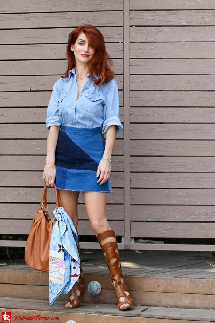 Redhead Illusion - Fashion Blog by Menia - Double Denim - Chambray Shirt with Jean Skirt-09