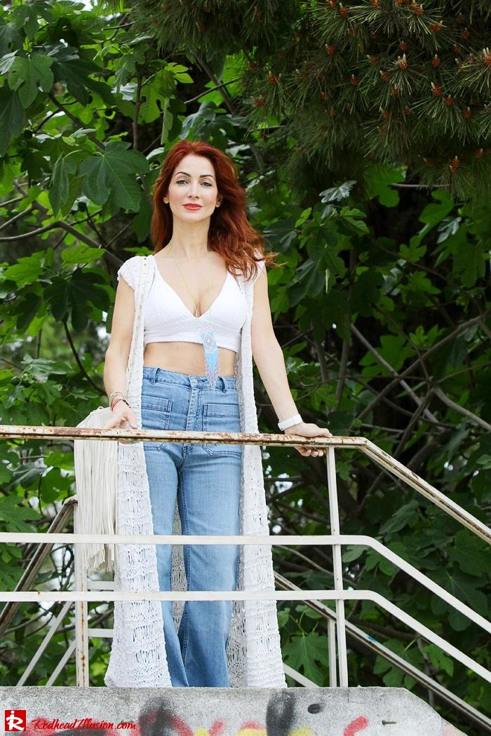Redhead Illusion - Fashion Blog by Menia - Bohemian Summer Part 2 - Knitted Vest - High waisted Flared Denim - Bikini Top-02
