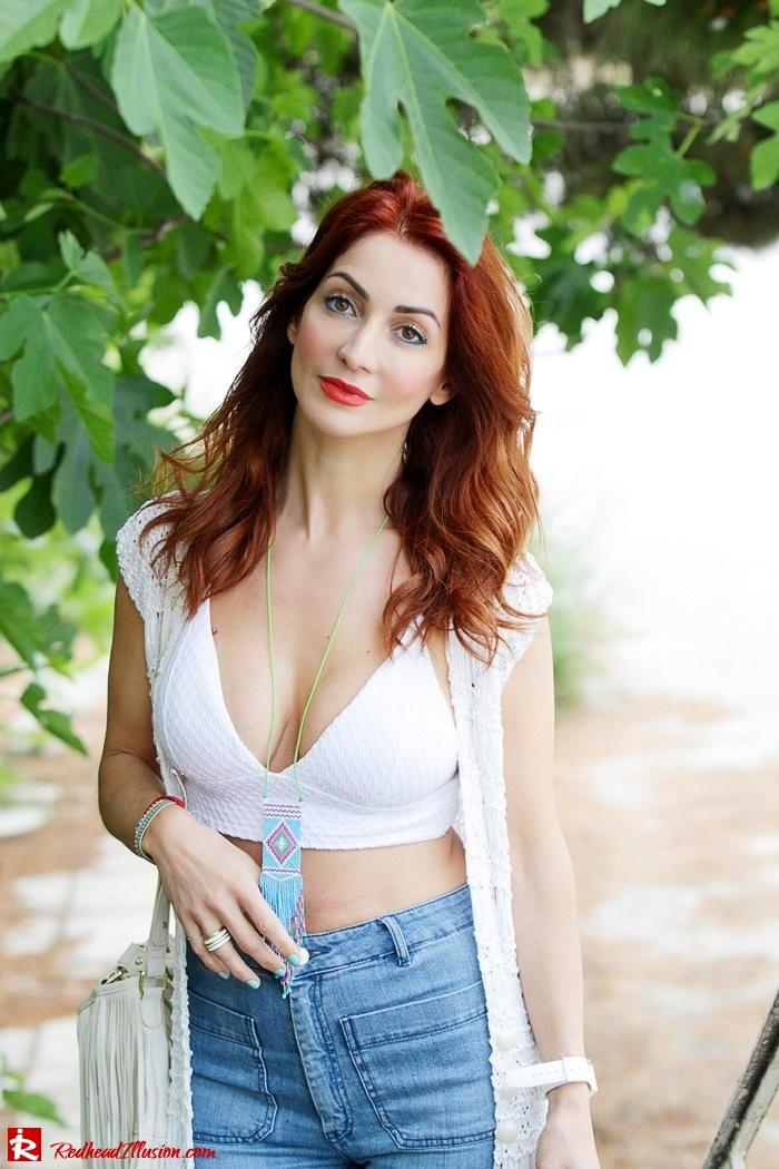 Redhead Illusion - Fashion Blog by Menia - Bohemian Summer Part 2 - Knitted Vest - High waisted Flared Denim - Bikini Top-08