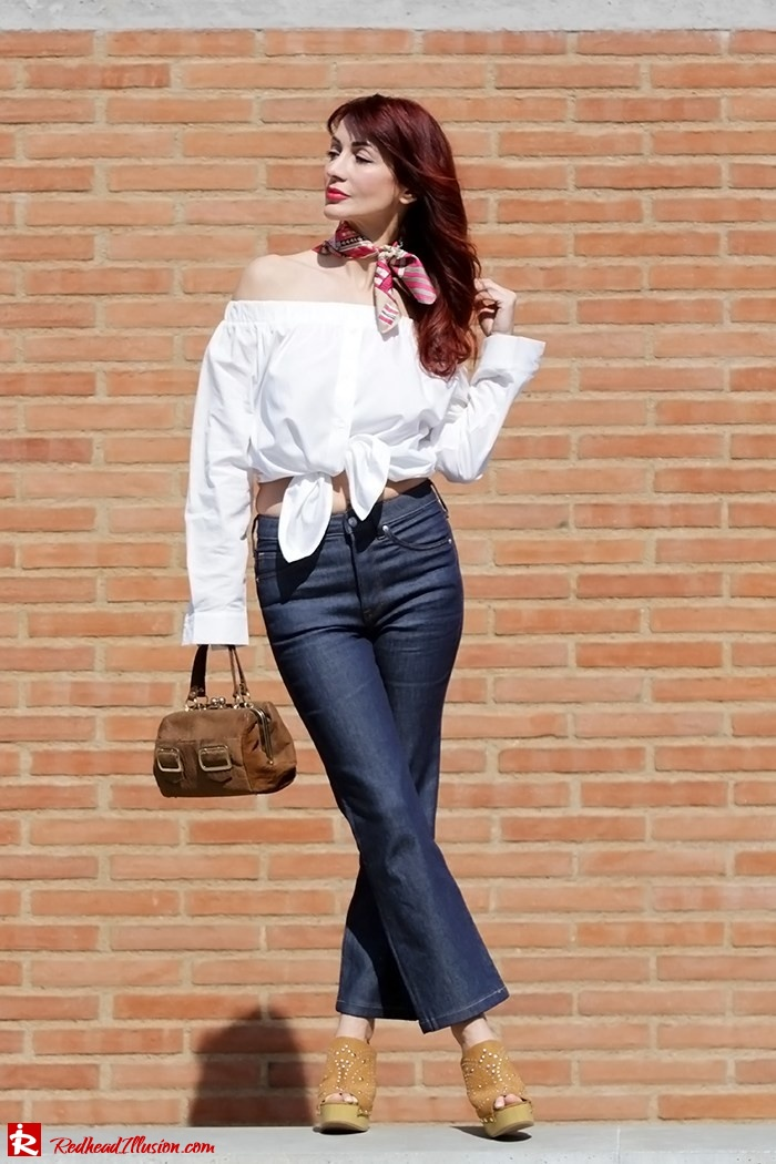 Redhead Illusion - Fashion Blog by Menia - Off-the-shoulder - Sexy and Feminine - Denny Rose Shirt - Kick Flare Jeans-05