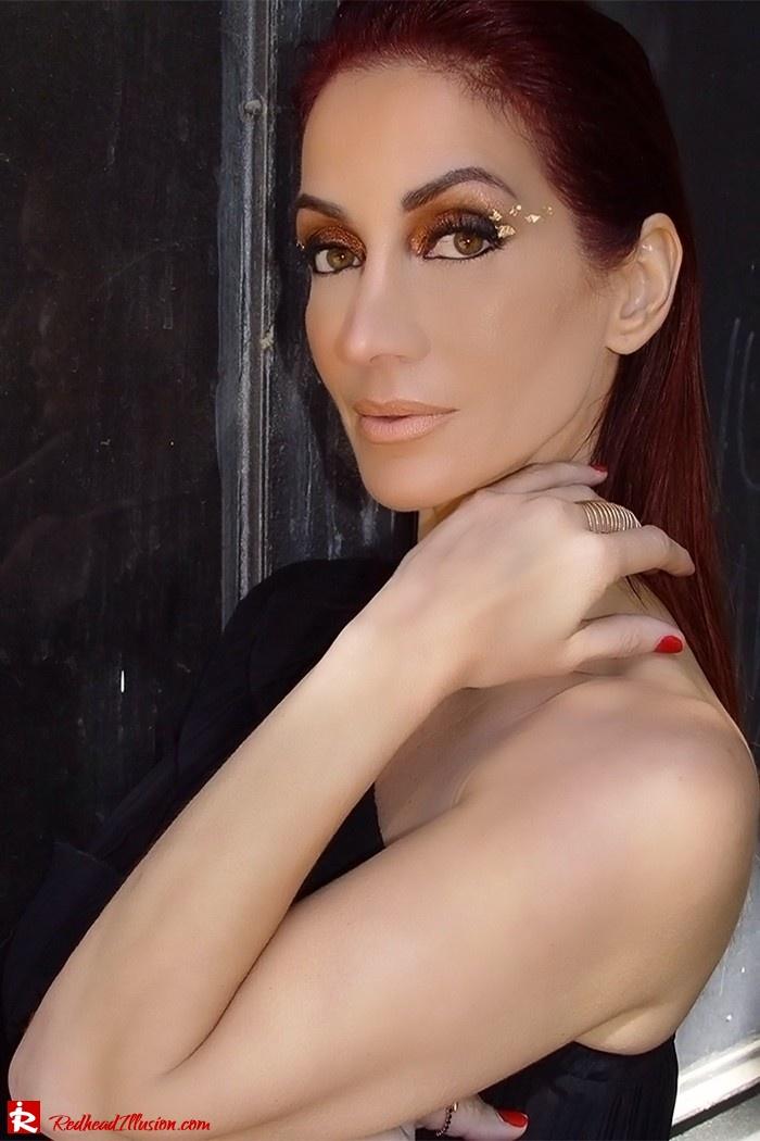 Redhead Illusion - Fashion Blog by Menia - Golden Project - One Shoulder Chiffon Dress - Dresslink-02