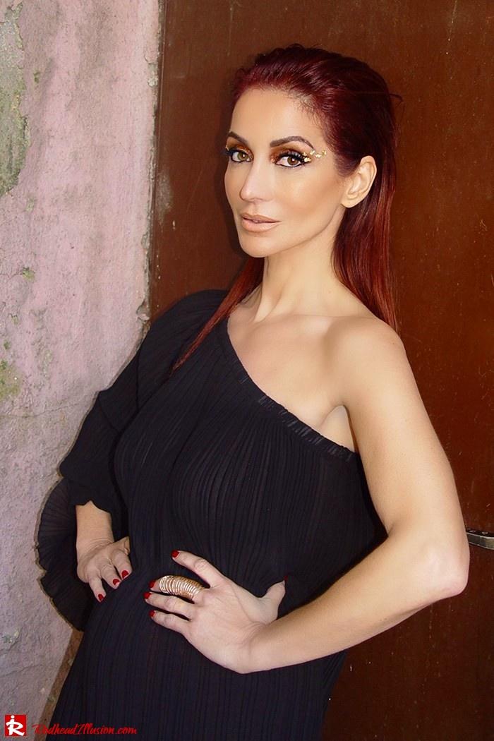 Redhead Illusion - Fashion Blog by Menia - Golden Project - One Shoulder Chiffon Dress - Dresslink-05