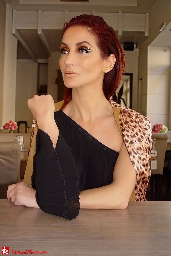 Redhead Illusion - Fashion Blog by Menia - Golden Project - One Shoulder Chiffon Dress - Dresslink-06