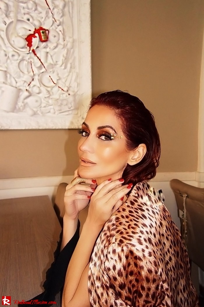 Redhead Illusion - Fashion Blog by Menia - Golden Project - One Shoulder Chiffon Dress - Dresslink-07
