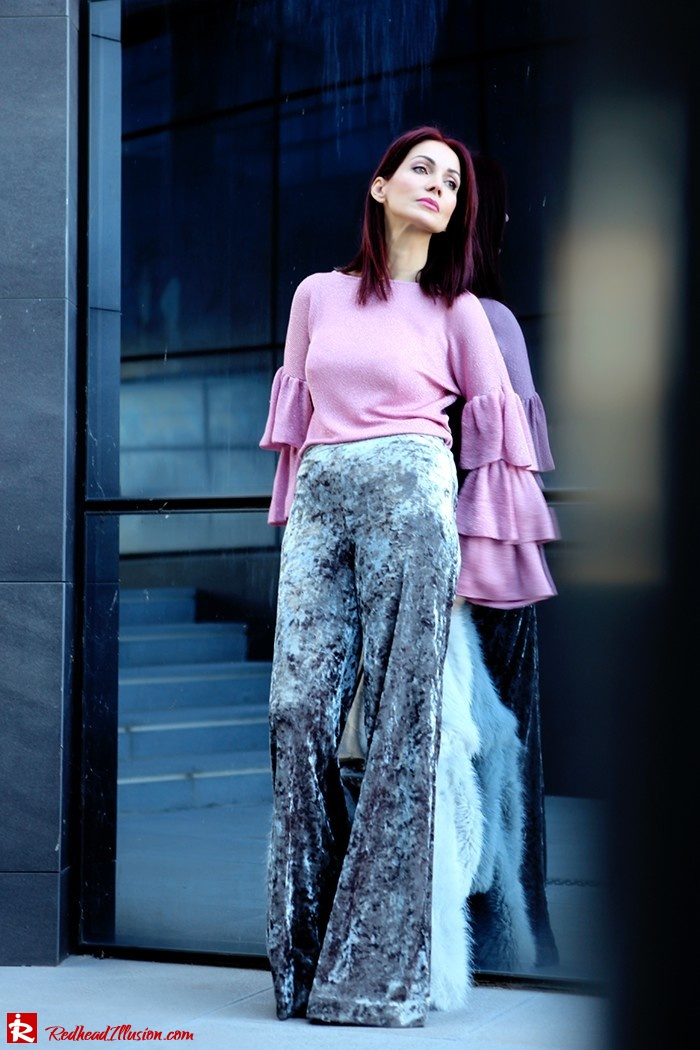 Redhead Illusion - Fashion Blog by Menia - Fade to grey - Zara Velvet Pants - Denny Rose Blouse-04
