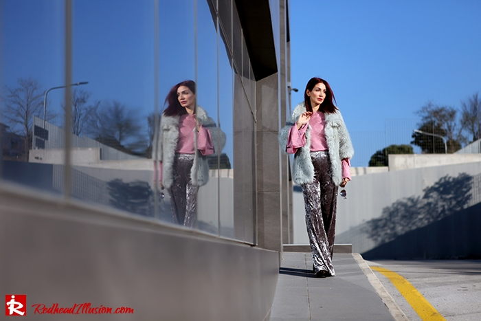 Redhead Illusion - Fashion Blog by Menia - Fade to grey - Zara Velvet Pants - Denny Rose Blouse-05