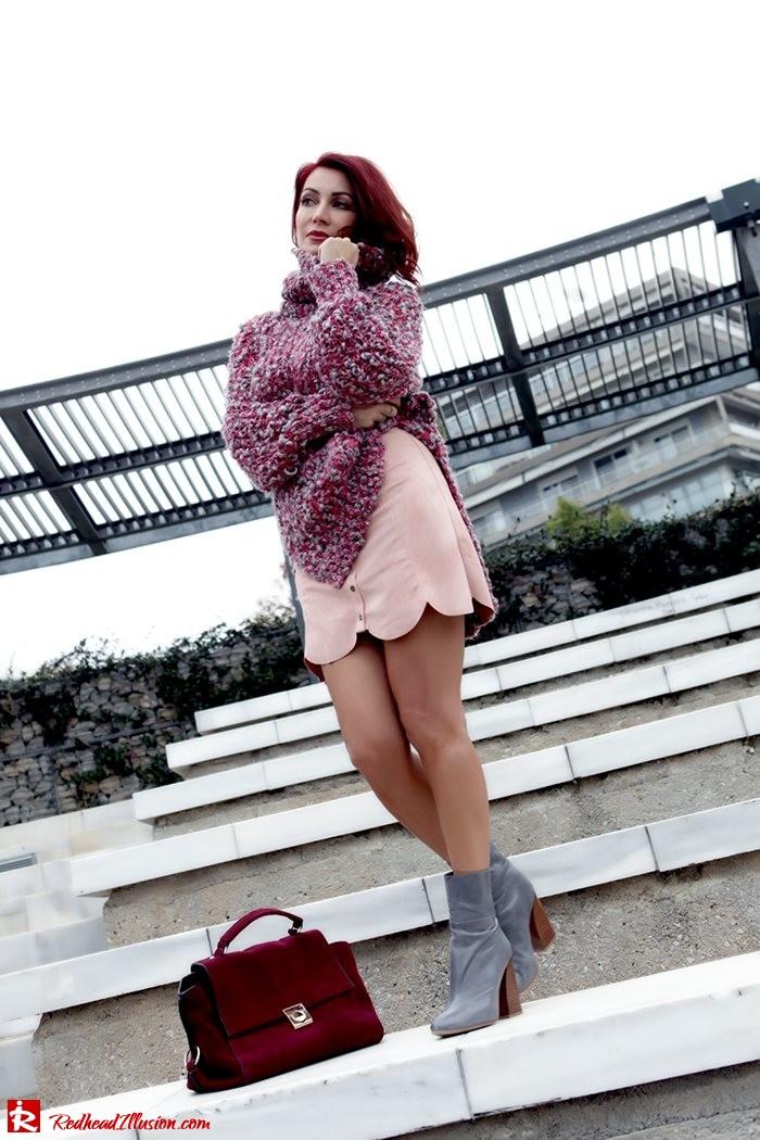 Redhead Illusion - Fashion Blog by Menia - Pink Affair - Knitted Sweater- Shein Skirt - Zara Booties-04