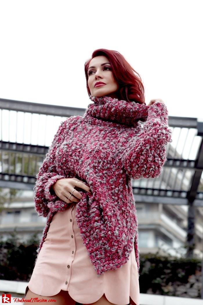 Redhead Illusion - Fashion Blog by Menia - Pink Affair - Knitted Sweater- Shein Skirt - Zara Booties-05
