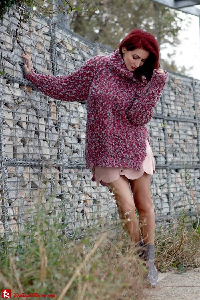 Redhead Illusion - Fashion Blog by Menia - Pink Affair - Knitted Sweater- Shein Skirt - Zara Booties-10