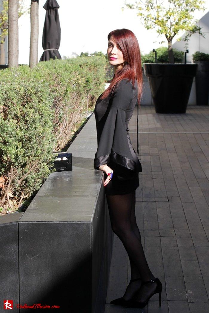 Redhead Illusion - Fashion Blog by Menia - Editorial - Bell Sleeve Dress - Yoins LBD Mini Black Dress-04