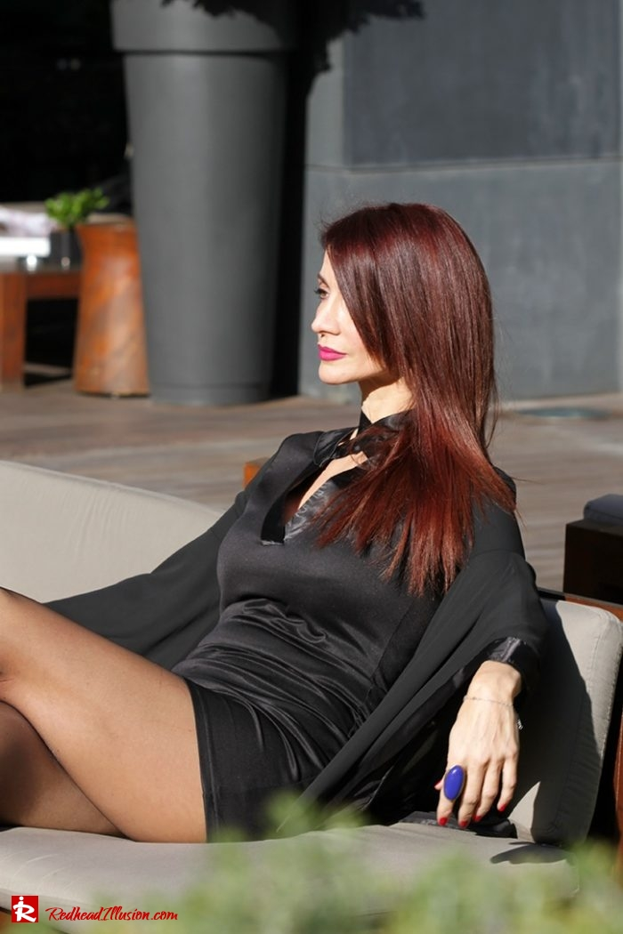 Redhead Illusion - Fashion Blog by Menia - Editorial - Bell Sleeve Dress - Yoins LBD Mini Black Dress-06