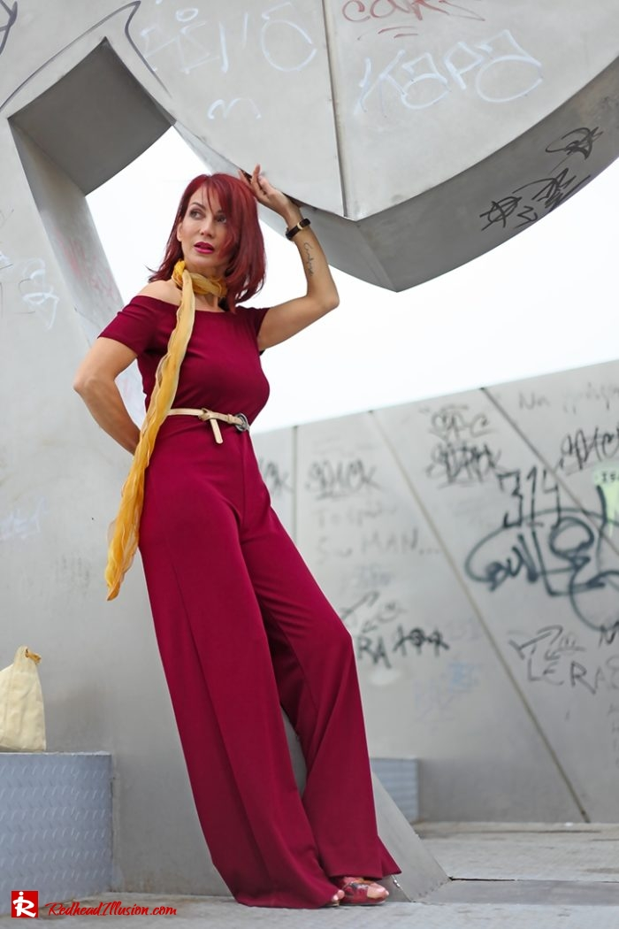 Redhead Illusion - Fashion - Blog by Menia - Editorial - Bordeaux - Lulus Jumpsuit-03