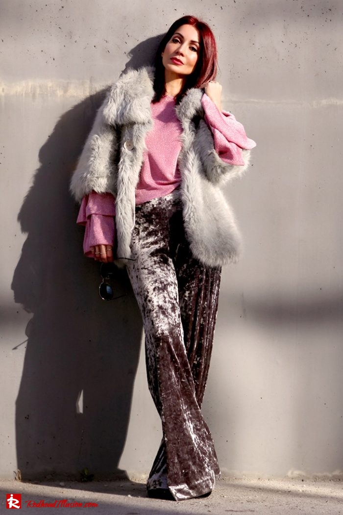 Redhead Illusion - Fashion Blog by Menia - Editorial - Fade to grey - Zara Velvet Pants - Denny Rose Blouse-06