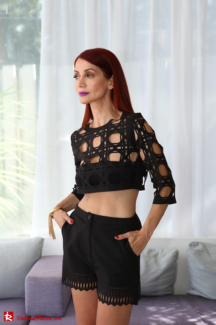 Redhead Illusion - Fashion Blog by Menia - Editorial - Laser Cut - Shorts - Mules - Crop Top-05
