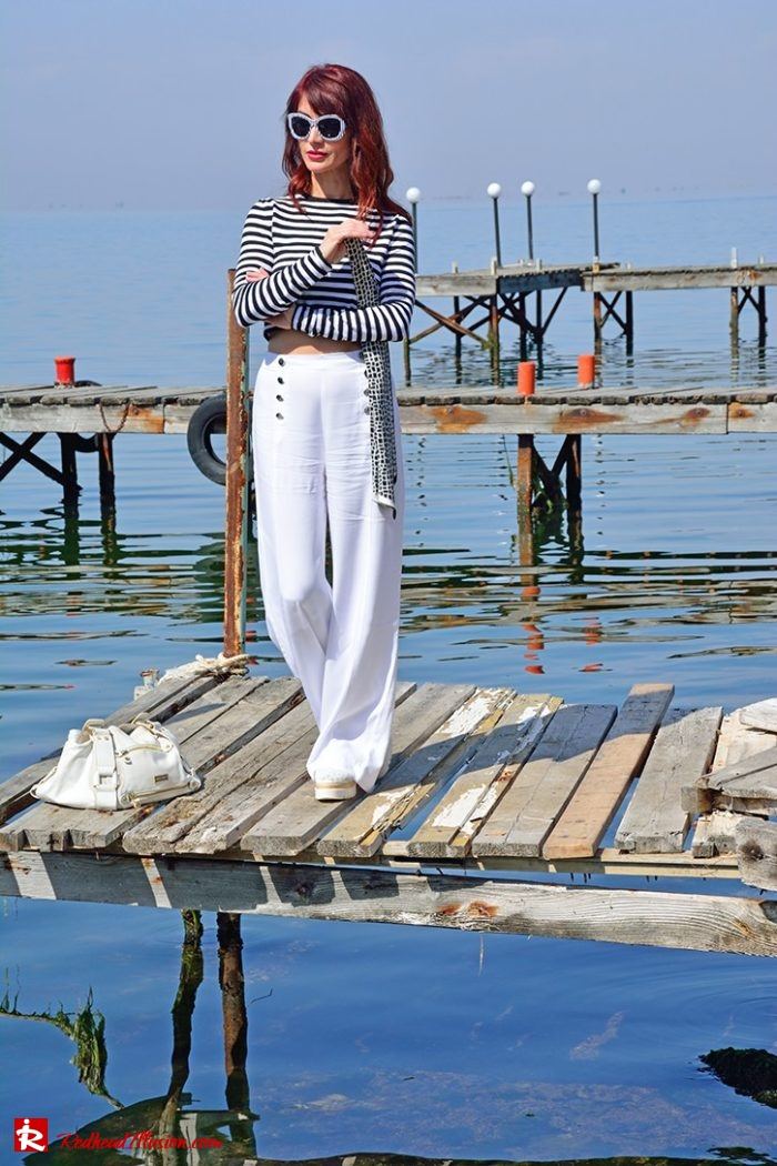 Redhead Illusion - Fashion Blog by Menia - Editorial - Sail away - Top Zara - Flatforms navy style-03