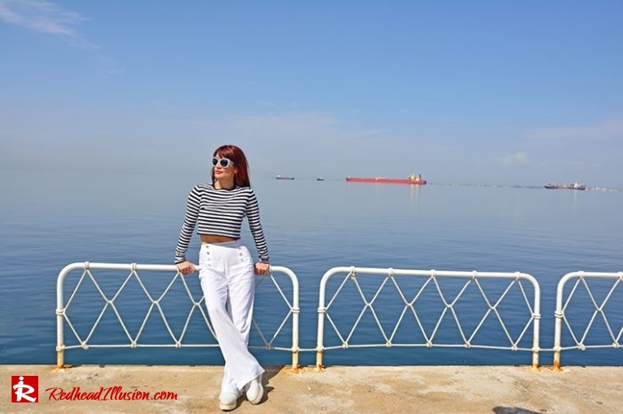 Redhead Illusion - Fashion Blog by Menia - Editorial - Sail away - Top Zara - Flatforms navy style-05