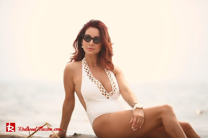 Redhead Illusion - Fashion Blog by Menia - The White Essentials - River Island Swimsuit-02
