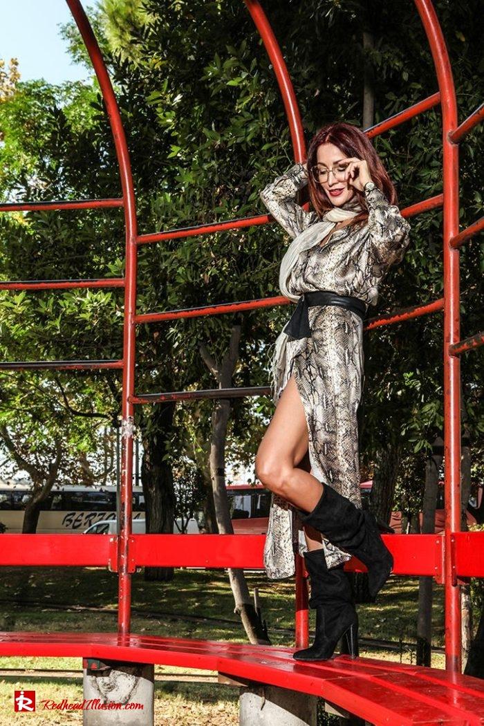 Redhead Illusion - Fashion Blog by Menia - Snake Print Dress 70's Style - Zara-07