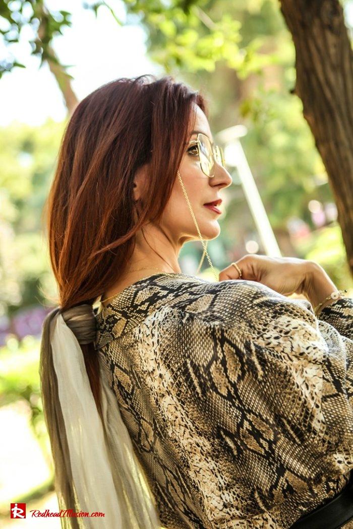 Redhead Illusion - Fashion Blog by Menia - Snake Print Dress 70's Style - Zara-08
