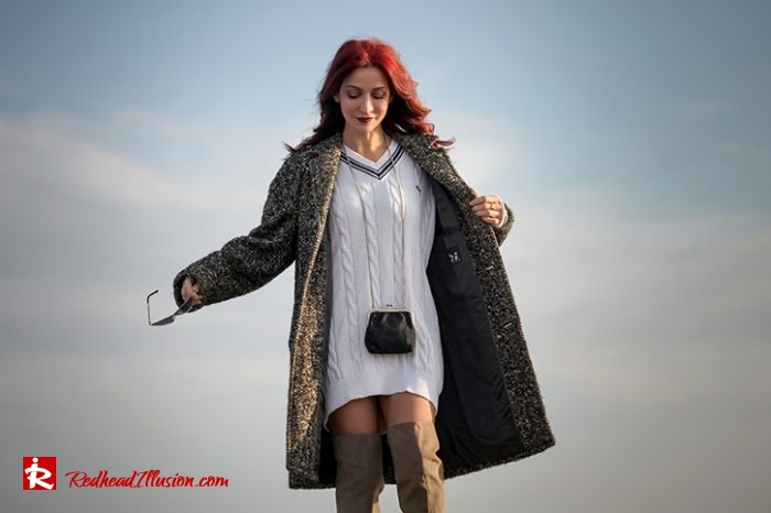 Redhead Illusion - Fashion Blog by Menia - Why You Should Steal A Man's Closet - Vintage coat, Oversized Sweater-09
